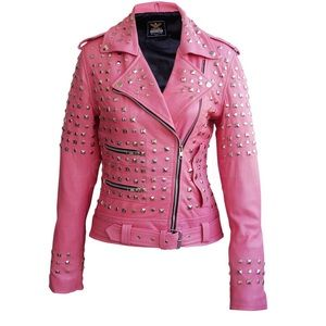 Women Pink Spike Studs Leather Jacket. Online only